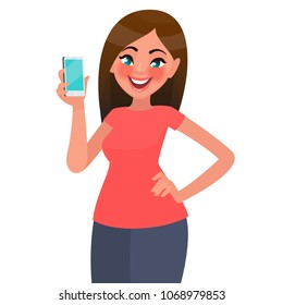 A beautiful woman is holding a smartphone. Vector illustration in cartoon style