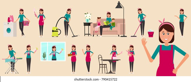 Beautiful woman is a housewife. Housework. A woman doing nanny, cleaning woman, housekeeper, cook.