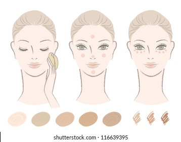 Beautiful woman and how to apply foundation and concealer with color swatches.  Isolated on white. Cut-out. For other variation, check my portfolio.