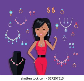 Beautiful woman with jewelry collection. Golden and silver jewelery set. Necklaces, rings and earrings with gemstone. Jewelry icon. Mannequin with necklace. Isolated vector illustration in flat.