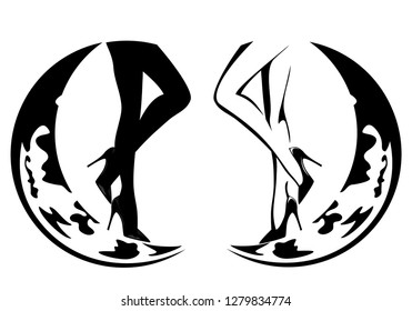 beautiful woman legs wearing high heeled shoes and crescent moon - black and white vector design set