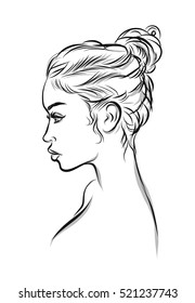 Beautiful woman line art illustration