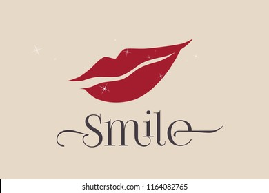 Beautiful woman lips smiling.Red lipstick mouth.Cosmetics and beauty vector logo.