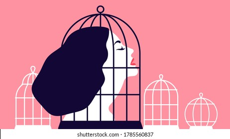 Beautiful woman locked in a cage. The concept of restricting women's rights. The concept of abusive relationships. Modern vector Illustration.