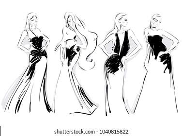 Line Art Illustration Style : Fashion sketch cartoon models girls bouquet stock vector 692697601