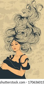 Beautiful woman with long flowing hair artistic illustration