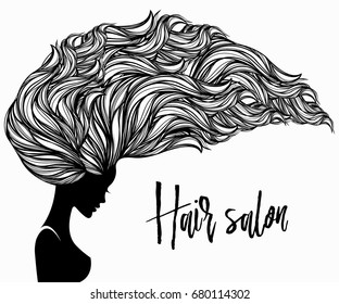 Beautiful woman with long, wavy hair flowing in the wind.Hair salon vector illustration.