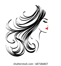 Beautiful woman with long, wavy hair and elegant makeup. Cosmetics and hair salon vector icon isolated on white background.