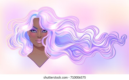 Beautiful woman with long wavy purple dyed hair flowing in the wind. Hair salon concept. vector illustration isolated. Portrait of a young Caucasian woman. Glamour Fashion concept.