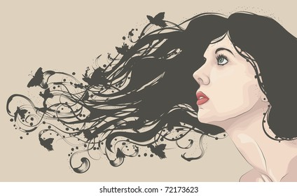 Beautiful woman looking up with flowing abstract hair with butterflies