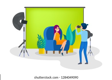 Beautiful woman making photoshoot on the green background. Various equipment such as softbox and camera. Isolated flat vector illustration