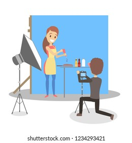 Beautiful woman making photoshoot in the studio. Girl cook in front og camera. Creative photography. Isolated flat vector illustration