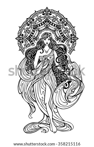 bf846b1b713 Beautiful Woman Mandala Decor Femalegirl Long Flowing Stock Vector ...