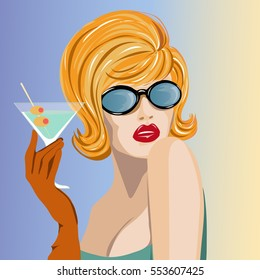 Beautiful woman with martini glass pop art portrait, pin up summer look vector illustration background