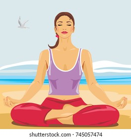 Beautiful woman meditating on the beach. Vector