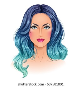 Beautiful woman with mermaid hair. Portrait. Isolated vector illustration.
