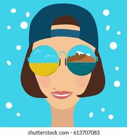 Beautiful woman in mirrored sunglasses and a baseball cap backwards