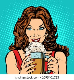 Beautiful woman with a mug of beer. Pop art retro vector illustration kitsch vintage