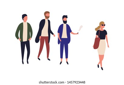 Beautiful woman passing by group of young men. Street harassment, catcalling and wolf-whistling. Offensive or abusive behavior, domination and assault. Flat cartoon colorful vector illustration.
