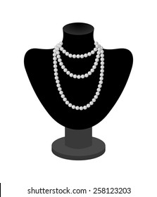 Beautiful woman pearl necklace on black mannequin . vector art image illustration, isolated on white background