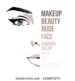 Beautiful woman portrait beauty skincare concept with letters on face. Glamour fashion beauty woman face illustration with fashion inscription on face in watercolor style. Vector illustration.