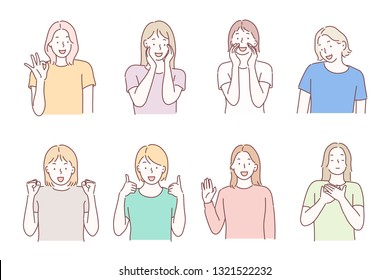 Beautiful woman portrait with different facial expressions set isolated on white background. Young girl smiling, happy,  kind, greeting emotion face vector character.Hand drawn style vector design.