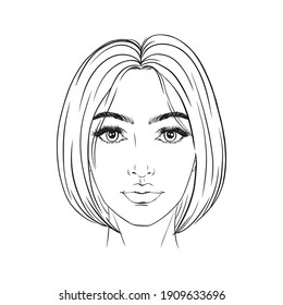 Beautiful woman portrait. Face chart Makeup Artist Blank Template. Vector illustration.