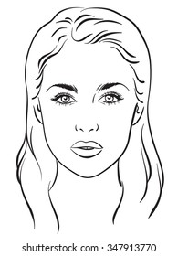 face chart makeup artist blank template  vector illustration
