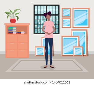 beautiful woman pregnancy in house corridor scene