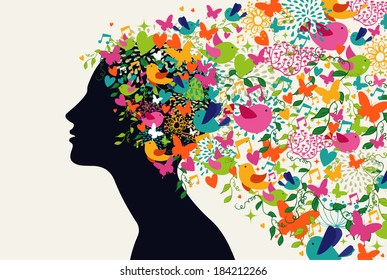 Beautiful woman profile, flowers season hair composition. Vector illustration layered for easy manipulation and custom coloring.