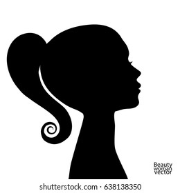 Beautiful woman profile silhouettes with elegant hairstyle, vector young female face design, beauty girl head with styled hair, fashion lady graphic portrait.