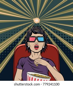 Beautiful Woman in Purple T-Shirt Watching 3D Movie and Eating Popcorn. Girl in Pop Art Comic Style Holding Popcorn Bucket while Looking on the Silver Screen in Dark Movie Hall.  Cinema Advertising.