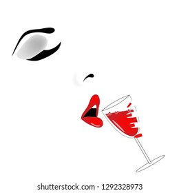 A beautiful woman raises a glass of wine to her lips in a minimalist food and drink  illustration.