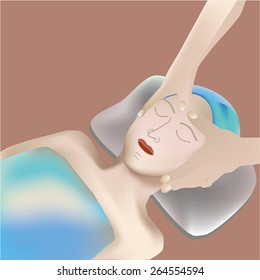 Beautiful woman receiving facial massage.Clipping mask,transparency, blending tool, gradation is used in this EPS10 file.