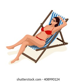 Beautiful woman in red bikini lying on a sun lounger sunbathing in the sunshine.Relaxation holiday, sunbathing and leisure, girl body.  Flat 3d vector isometric illustration
