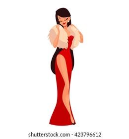 Beautiful woman in red dress cartoon vector illustration