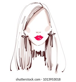 Beautiful woman with red lips vector fashion sketch. Young girl face portrait art.  Trendy model look hand drawn illustration. Modern design for women's day greeting card, poster, banner.
