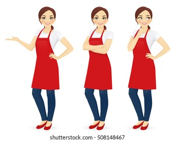 Beautiful woman in red upron standing in different poses isolated