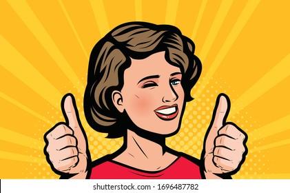 Beautiful woman rejoices in success. Retro comic pop art vector illustration