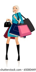 Beautiful woman with shopping bags and credit cards