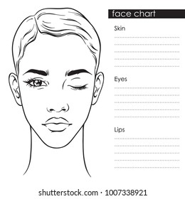 Beautiful woman with short haircut and one eye closed portrait. Face chart Makeup Artist Blank Template vector llustration.