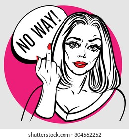 Beautiful woman showing middle finger. Pop art poster