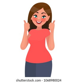 A beautiful woman shows a gesture of approval. Cool or Ok.  Thumb lifted up. Vector illustration in a flat style