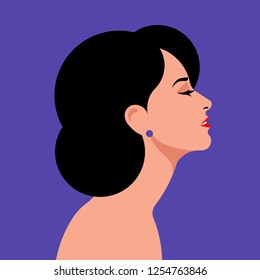 Beautiful woman side view. Close-up portrait of a elegant lady with black hair. Vector illustration.