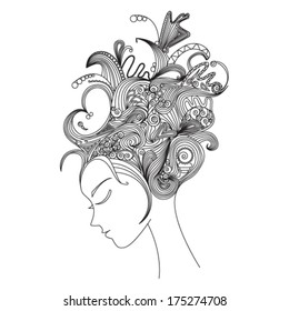 beautiful woman silhouette with abstract hair