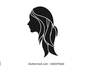 Beautiful woman silhouette face icon vector