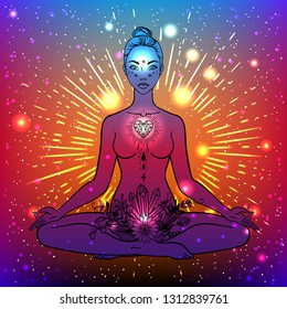 Beautiful woman silhouette sitting in lotus pose with flowers and ethnic art. Power of girls. Meditation, yoga, kundalini, tantra, ayurveda, aura and chakras. Vector illustration.