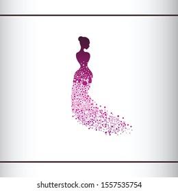 Beautiful woman silhouette. Vector illustration of dot work woman beauty salon design. Beautiful Bride. Logo design template