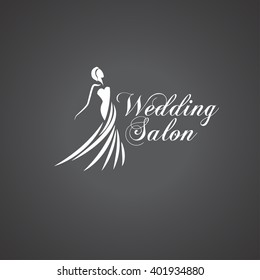 Beautiful woman silhouette. Wedding salon logo. Vector
