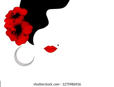 Beautiful woman silhouette whit red Hibiscus flowers and sexy red lips. Beauty Logo Template. Vector Company Name, isolated or white background